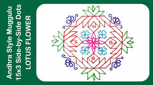 traditional indian and andhra rangoli design muggulu 15x3 side by