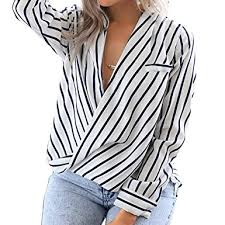 striped blouse eliacher s casual sleeve shirts striped chiffon blouse