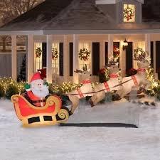 10 u0027 airblown inflatable santa sleigh reindeer outdoor lighted