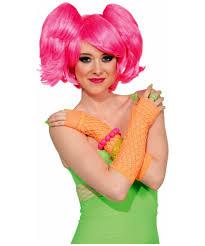 Halloween Neon Costume Neon Pink Wig Hair Makeup Halloween Accessory