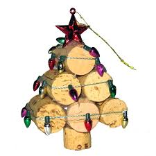 recycled wine cork mini tree ornament