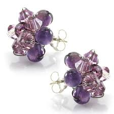 purple stud earrings swarovski element and purple amethyst stud earrings fashion