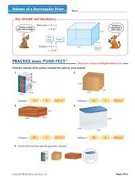 volume of a rectangular prism worksheet answers volume middle
