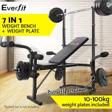 bench press 100kg everfit multi station weight bench press curl home gym weights