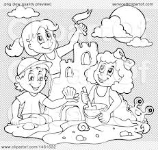 clipart of a black and white group of kids building a sand castle