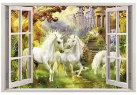 unicorn garden 3d window view decal wall sticker home decor art unicorn garden 3d window view decal wall sticker home decor art mural fantasy