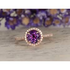 compare prices on amethyst engagement amethyst engagement ring round cut rose gold bridal set amethyst