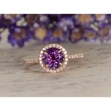amethyst engagement rings amethyst engagement ring round cut rose gold bridal set amethyst