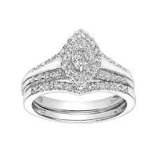 1 4 carat engagement ring 10k white gold 1 4 carat t w marquise engagement ring set