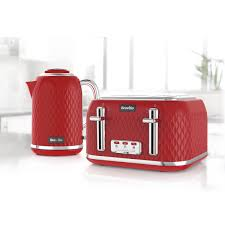 Kettle Toaster Curve Collection Jug Kettle And Toaster Set Red And Chrome Curve