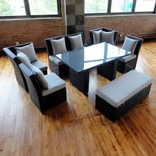 Black Wicker Patio Furniture by Jamaican Sofa And Dining Set In Black Wicker Light Gray Fabric