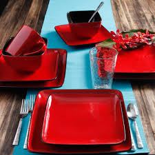 Home Trends Dishes by Better Homes And Gardens Rave 16 Piece Square Dinnerware Set Red