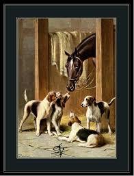 english print fox hound terrier puppy dog dogs horses horse art