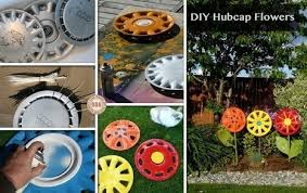 diy hubcap flower upcycled garden style sc