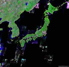 japan map and satellite image