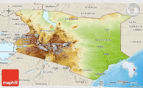 geographical map of kenya physical panoramic map of kenya shaded relief outside