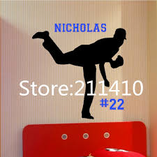 popular pitchers sports buy cheap pitchers sports lots from china personalized baseball pitcher wall decal customize name baseball player sport wall art wall stickers for