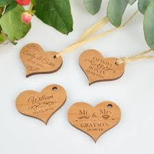 wedding gift tags engraved wooden heart gift tags personalized favors