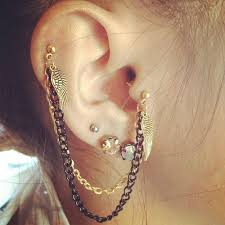 earring on ear piercings chain ear earring image 527673 on favim
