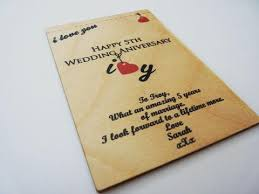 5th wedding anniversary wooden card personalised gifts