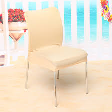 Dining Room Seat Covers Elegant Jacquard Fabric Solid Color Stretch Chair Seat Cover