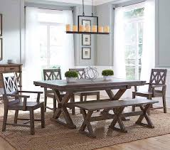 6 pc dining table set six piece rustic dining set with bench by kincaid furniture wolf