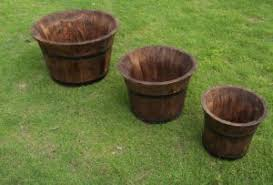 Half Barrel Planter by China Genuine Oak Half Barrel Planters For Garden Patio Decking