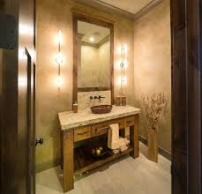 Tile Powder Room Ideas Strasser Woodenworks Powder Room Rustic With Beige Countertop