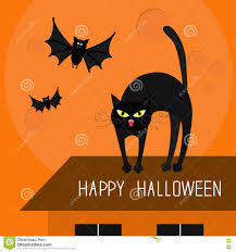 Halloween Flying Bats Cat Arch Back Kitty On Roof Yellow Eyes Fangs Curl Whisker