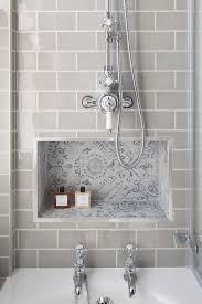Subway Tiles Bathroom Gray Subway Tiles Frame A Blue Mosaic Tiled Niche Located Below A