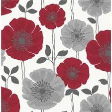 Grey Wallpaper With Red Flowers | b q lucienne grey red floral wallpaper red wallpaper floral