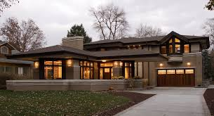 luxurious brown frank lloyd wright prairie style house plans