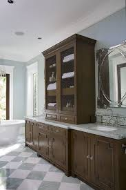 do gray walls go with brown cabinets fretwork cabinets transitional bathroom judi and