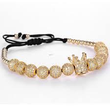 macrame bracelet with beads images White cz crown charm 8mm round beads braided macrame bracelet jpg