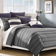 nautica sebec grey stripe 3 piece cotton duvet cover set