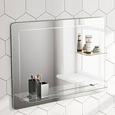 Wall Mirror For Bathroom 800 X 600 Mm Designer Bathroom Wall Mirror Glass Shelves Mc151