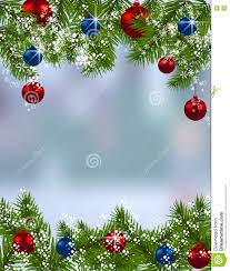 holiday card green fir branches with red and blue balls in the
