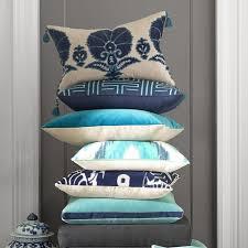 Ottoman Pillows Ottoman Floral Velvet Applique Lumbar Pillow Cover Blue