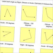 geometry worksheets label angles as right obtuse or acute