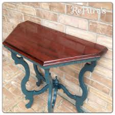Cherry Accent Table Accent Table Refinished Top In Cherry Wood And Blue Painted Legs
