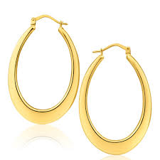 gold hoop earrings flat plain 25mm oval 9ct yellow gold hoop earrings g10252009