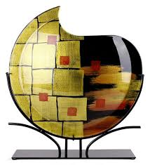 Round Glass Vase Round Glass Vase 20141 Gold Contrast