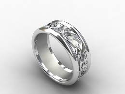 Mens White Gold Wedding Rings by White Gold Wedding Band Wide Ring Filigree Mens Ring Men Gold