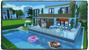 sims 4 building on newcrest modern house with pool build