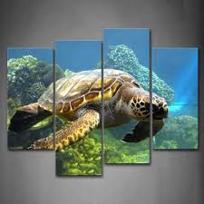turtle swimming in bottom of sea wall art painting the picture