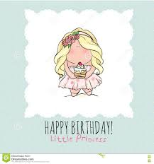Doodle Birthday Card Happy Birthday Card For Girl Cute Little Girl Doodle Stock