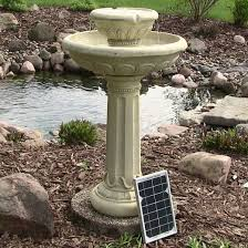 solar water fountain birdbath 2 tier chelsea design for outdoor