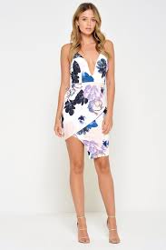 plunge dress stella floral plunge dress in multi white iclothing