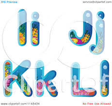 themed letters clipart of coral reef themed alphabet letters i through l
