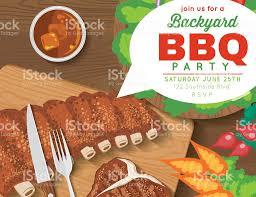 backyard bbq party invitation template stock vector art 539953442